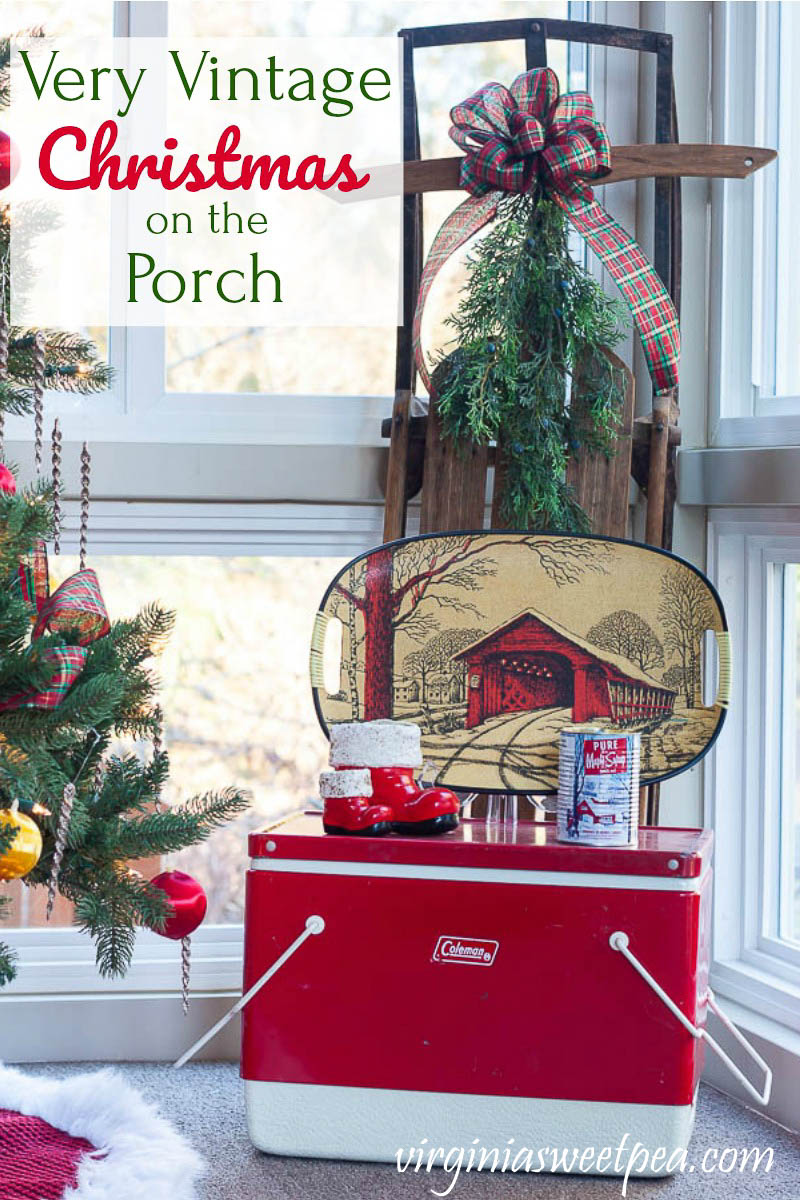 A Very Vintage Christmas on the Porch - See a porch decorated for Christmas with Vintage and get ideas for Christmas porch decor from 12 other home decor bloggers.  #christmasporch #christmasporchdecor #christmasporchdecorations #vintagechristmasdecor #vintagechristmasdecorations #virginiasweetpea via @spaula