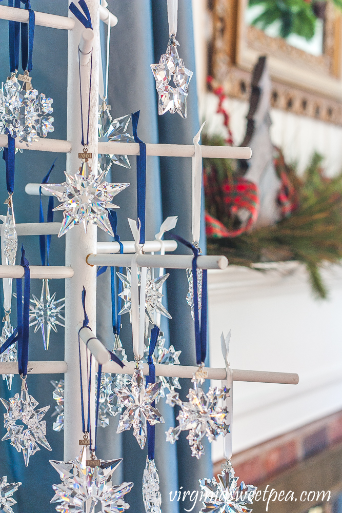 Swarovski snowflake Christmas ornaments dating from 1993 to 2019