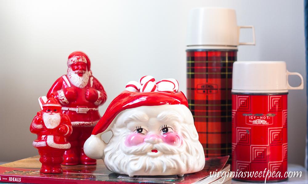 Vintage plastic Santa candy holders, vintage Santa mug, vintage thermoses