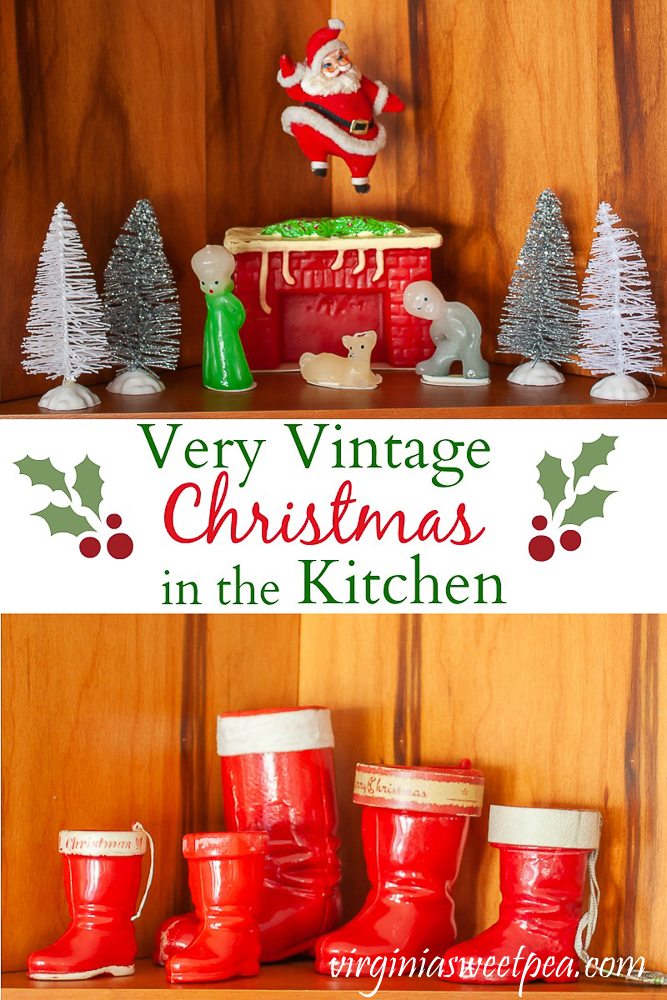 A Very Vintage Christmas in the Kitchen - A kitchen and breakfast room are decorated for Christmas with vintage, #vintagechristmasdecor #vintagechristmasdecorations #virginiasweetpea via @spaula
