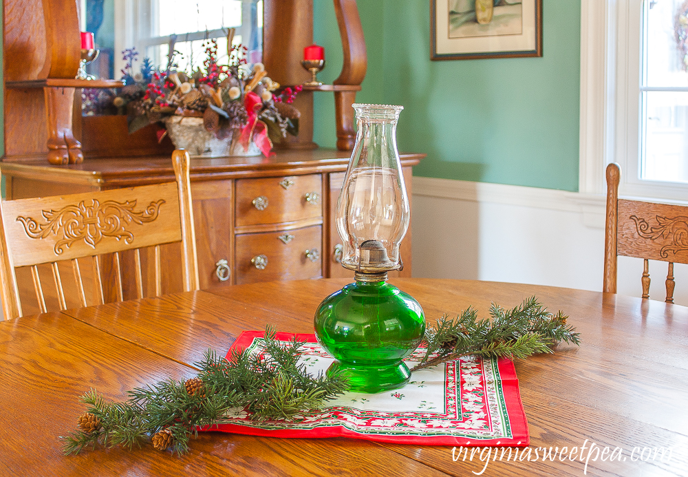 A Very Vintage Christmas in the Dining Room - A dining room is decorated for Christmas with vintage.