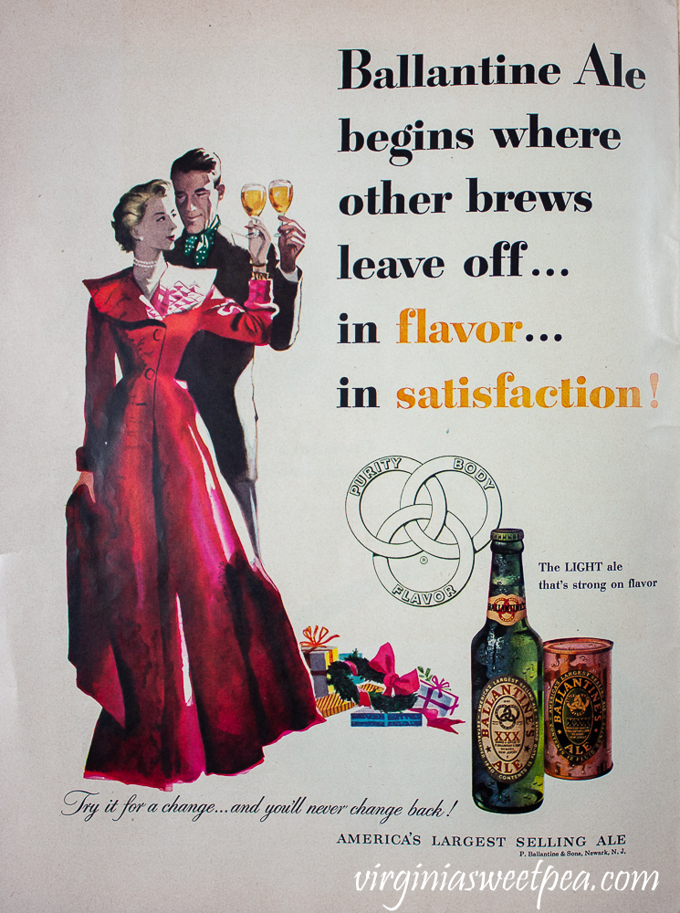 Ballantine Ale ad found in a December 25, 1950 Life Magazine ad