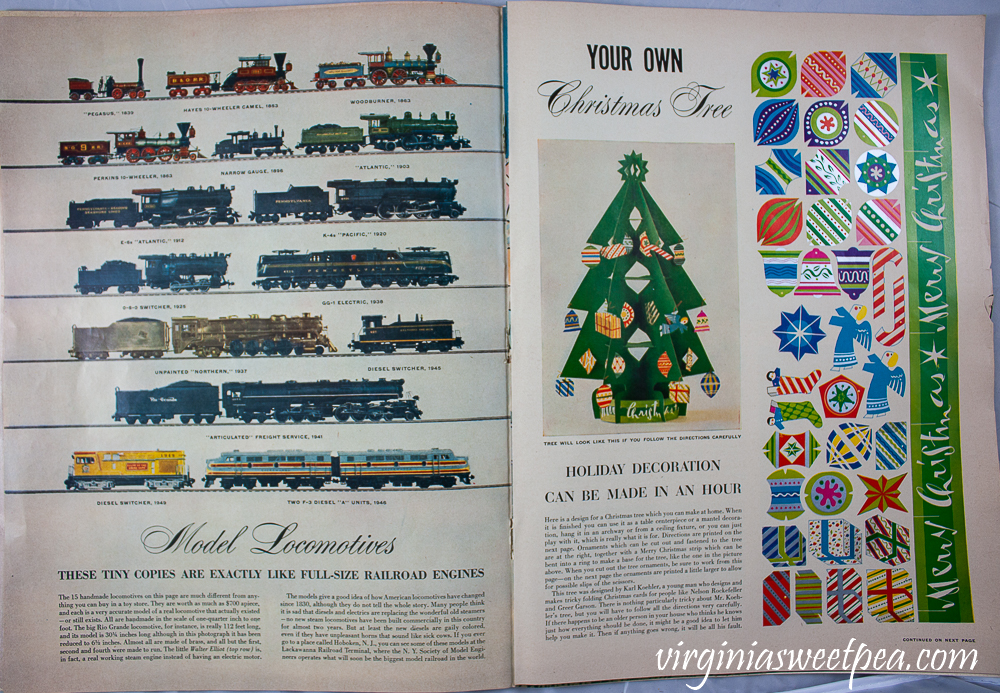 Model Locomotives article showing pictures of trains and directions to make a Christmas tree