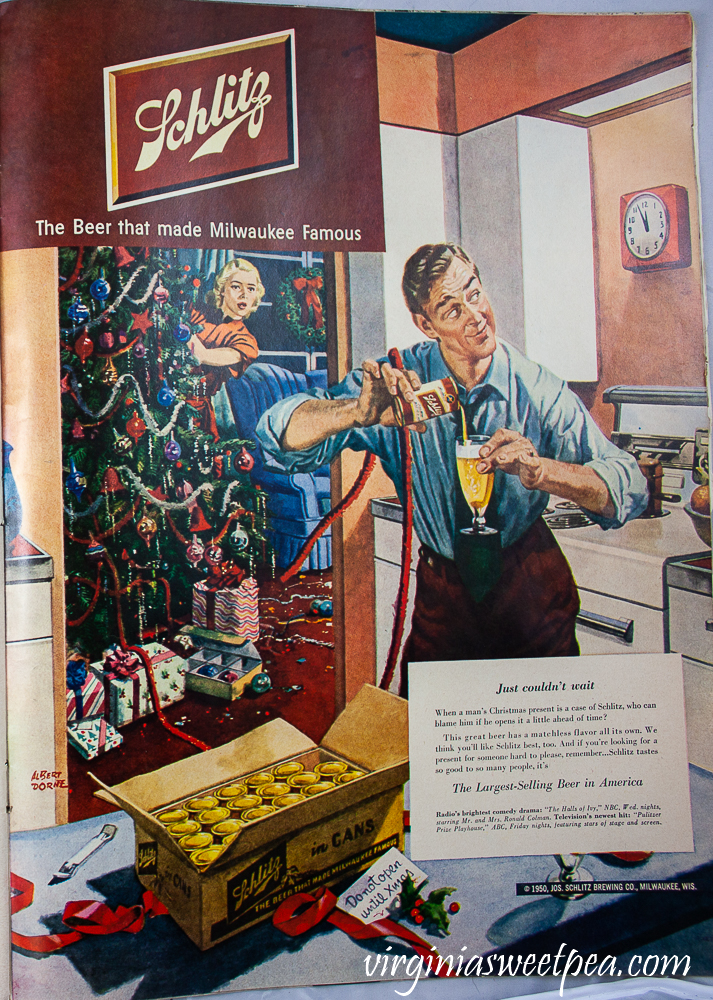 Schlitz beer ad from a December 25, 1950 Life Magazine