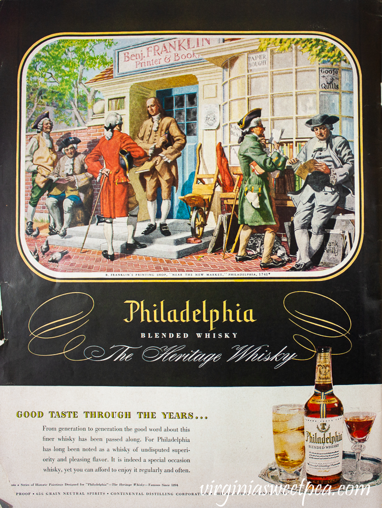 Philadelphia Blended Whisky ad found in Life Magazine December 25, 1950 issue