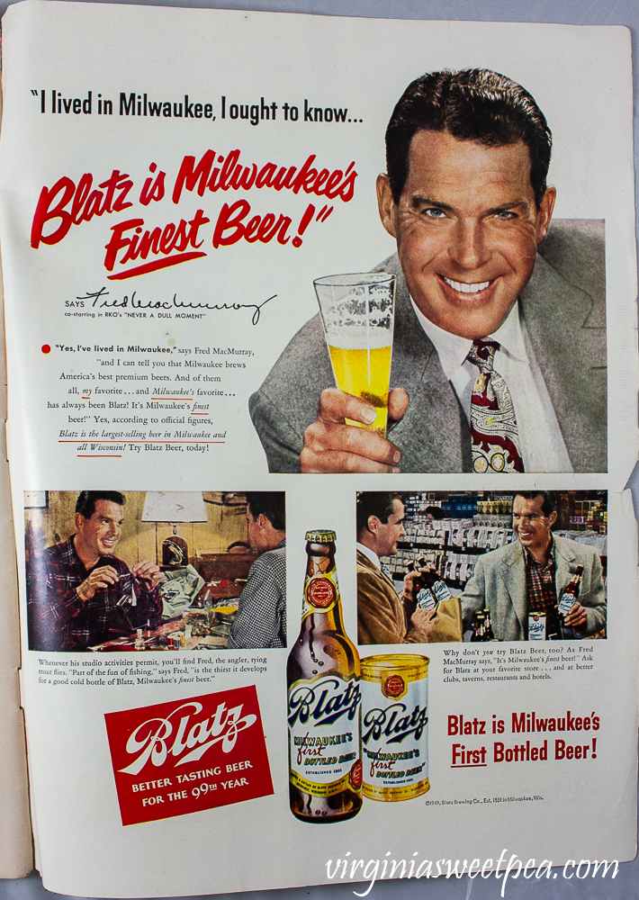 Blatz beer ad in a December 25, 1950 issue of Life Magazine