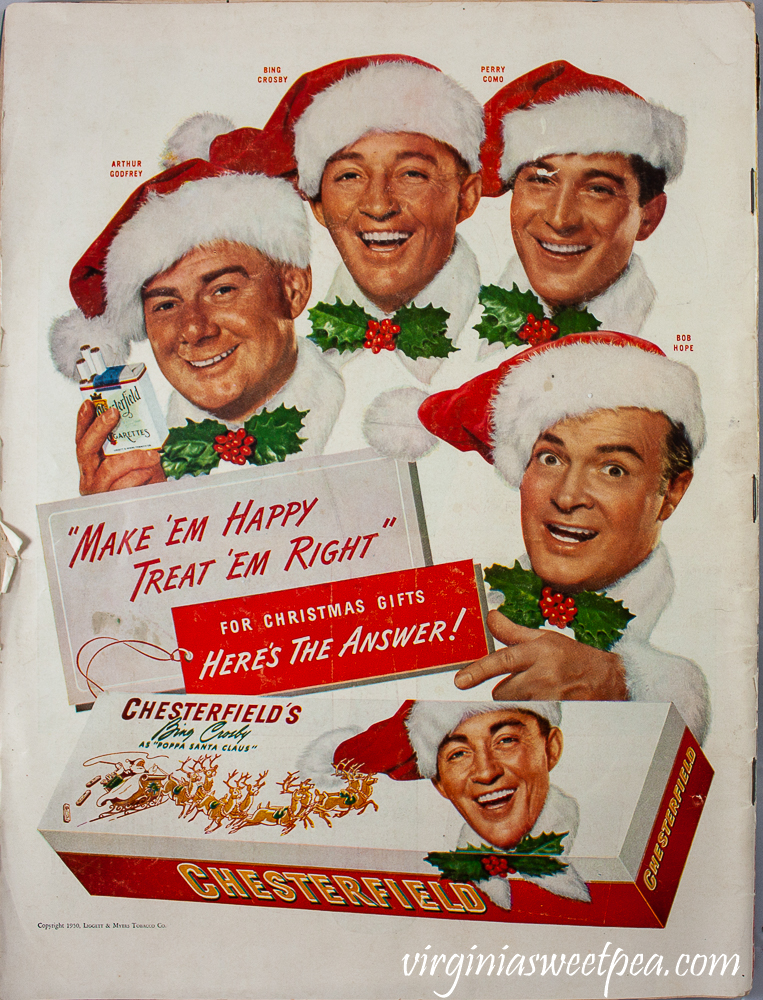Chesterfield Christmas Cigarette ad with Bing Crosby, Bob Hope, Arthur Godfrey, and Perry Como from a December 25, 1950 issue of Life Magazine