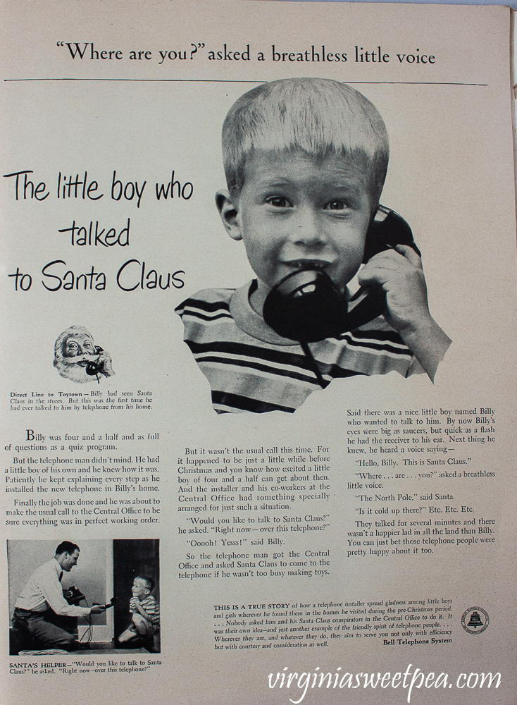 The Little Boy Who Talked to Santa Claus ad for Bell Telephone System in a December 25, 1950 Life Magazine