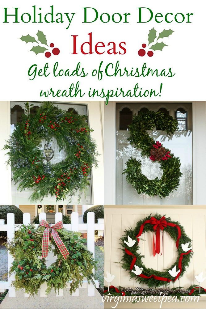 Holiday Door Decor Ideas - Get loads of Christmas wreath inspiration!  #christmaswreaths #christmaswreathideas #holidaydoorideas #holidaydoors #virginiasweetpea via @spaula