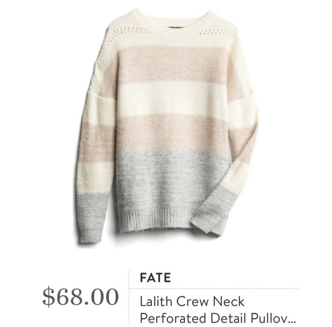 Fate Lalith Crew Neck Perforated Detail Pullover