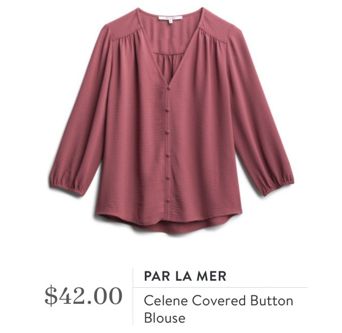 Par La Mer Celene Covered Button Blouse