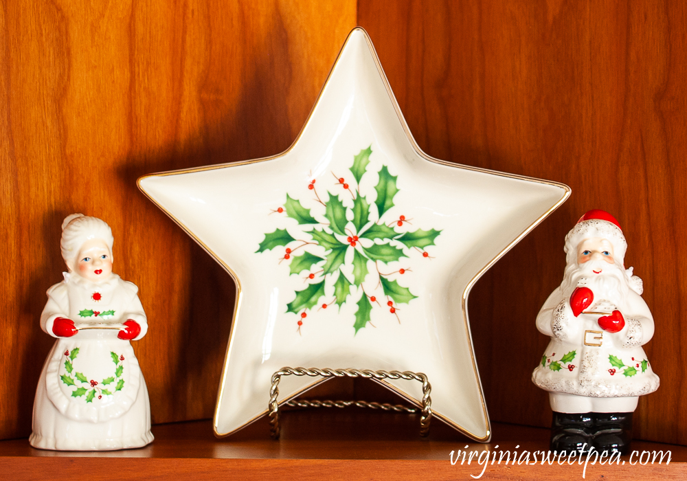 Kitchen shelf decorated for Christmas with Lenox Holiday pieces