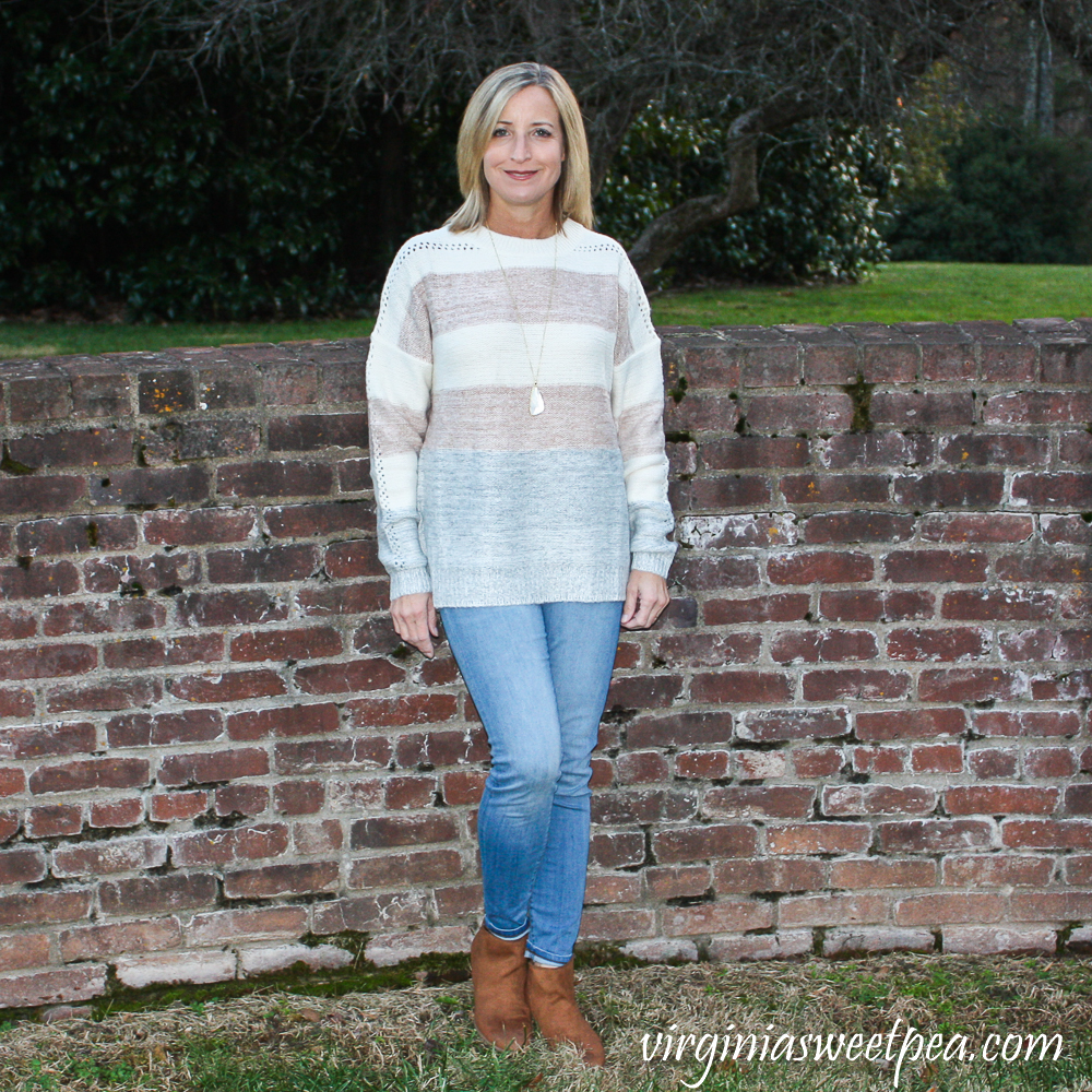 Stitch Fix Review for December 2019 - Fate Lalith Crew Neck Perforated Detail Pullover
