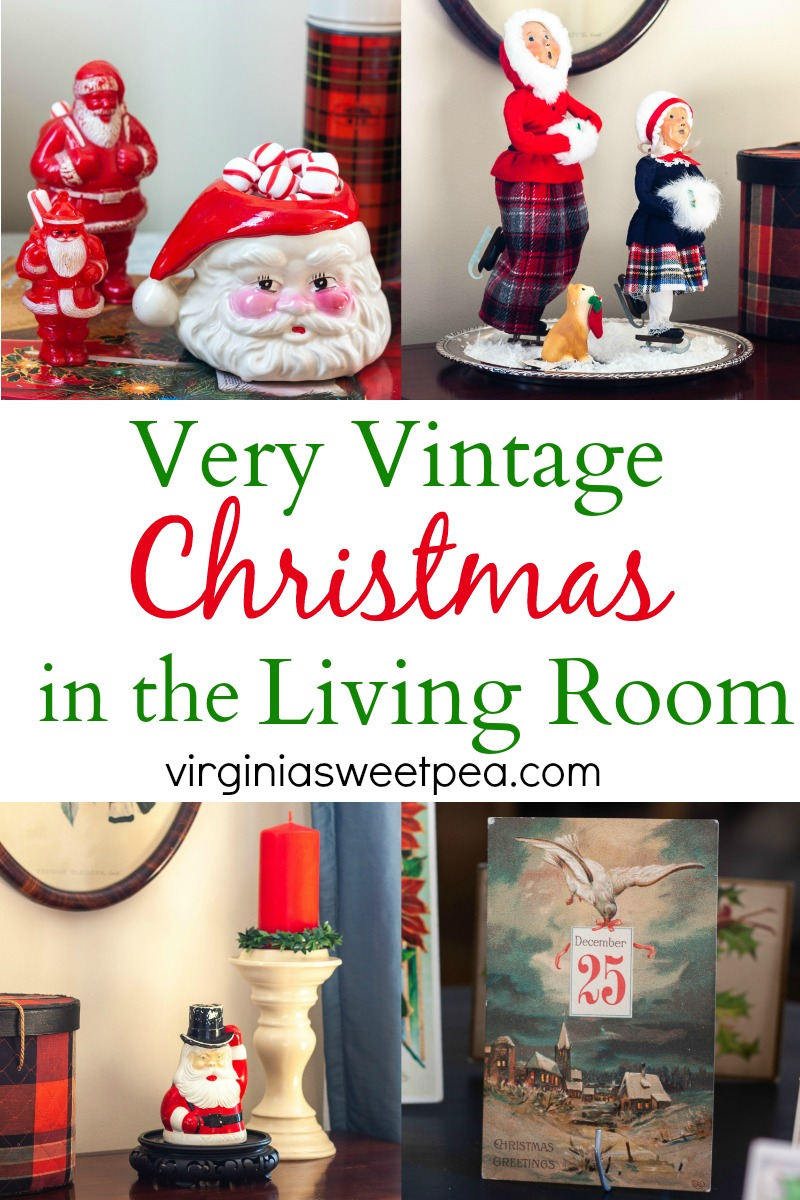 A Very Vintage Christmas in the Living Room - A home is decorated for Christmas with Vintage