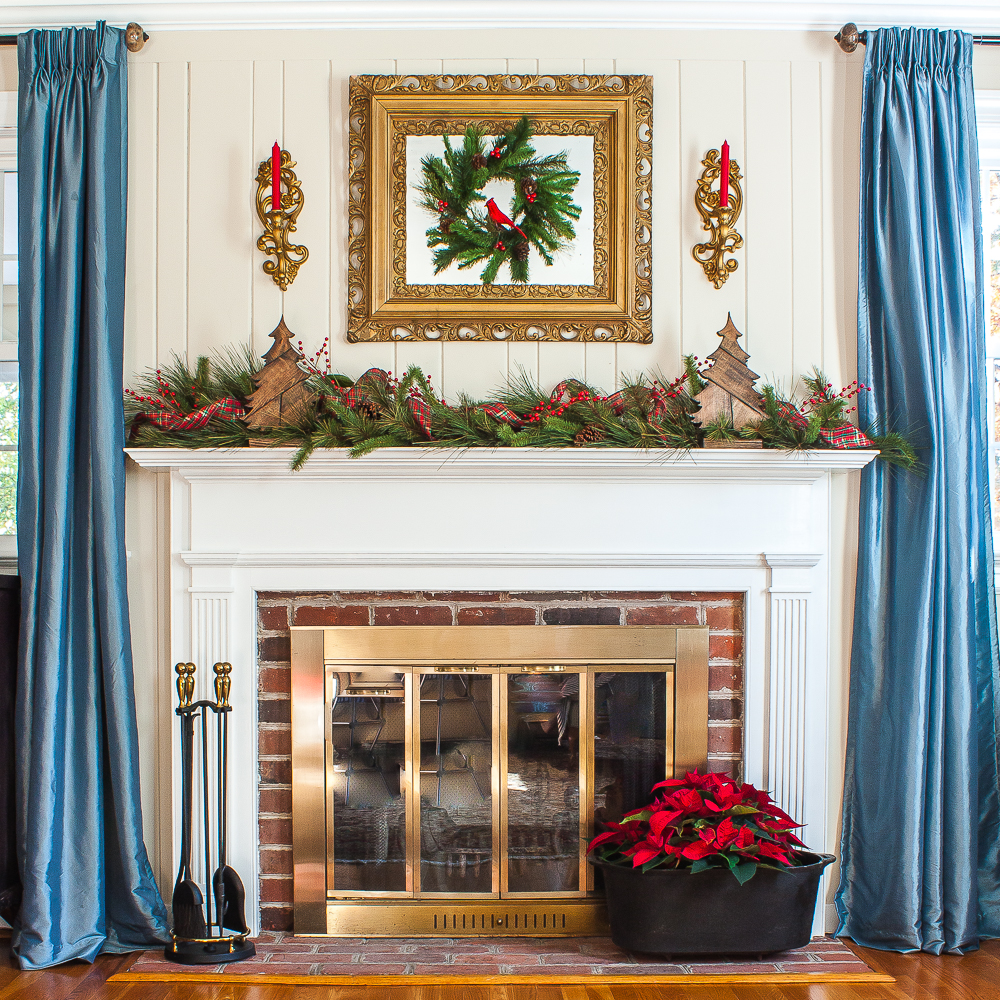 Warm and Rustic Mantel with Vintage Flair