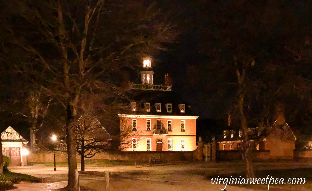 Capital Building at night at Christmas in Williamsburg, Virginia