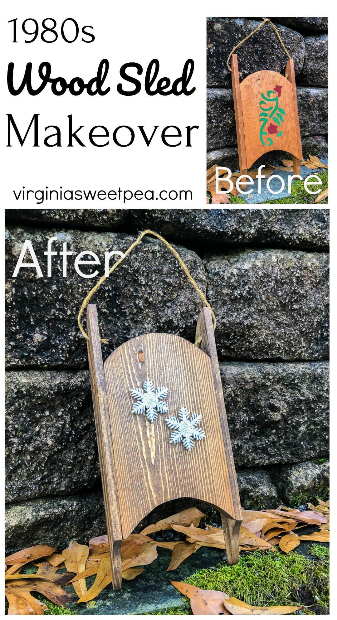 Wood Sled Makeover - A wood sled from the 1980s with a stencil gets a makeover for 2020.  via @spaula