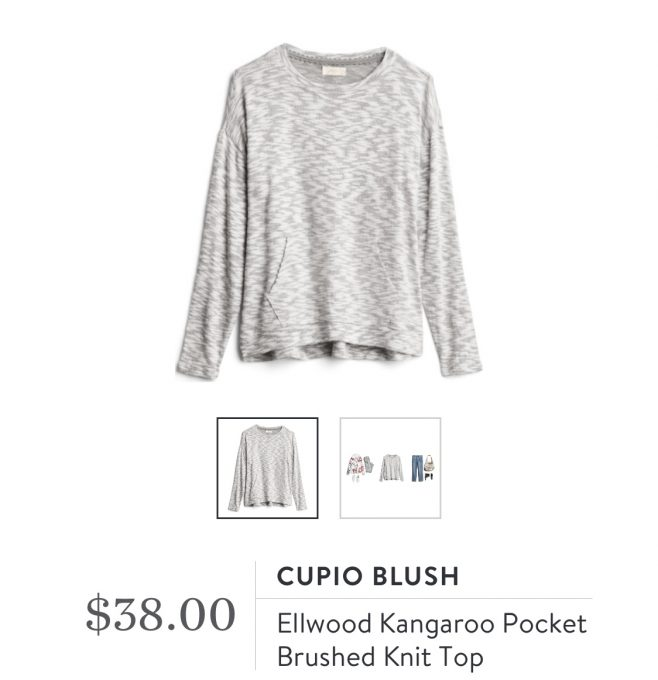Stitch Fix Copio Blush Ellwood Kangaroo Pocket Brushed Knit Top
