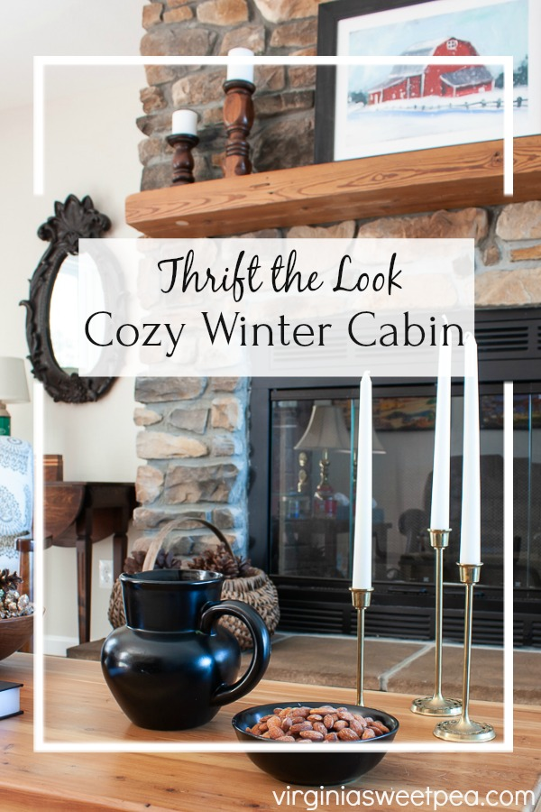 Thrift the Look Cozy Winter Cabin - Learn how to shop thrift stores to get a look that you see on Pinterest or in a magazine.  #cozywintercabin #cozywintercabindecor #wintercabin #thriftthelook via @spaula