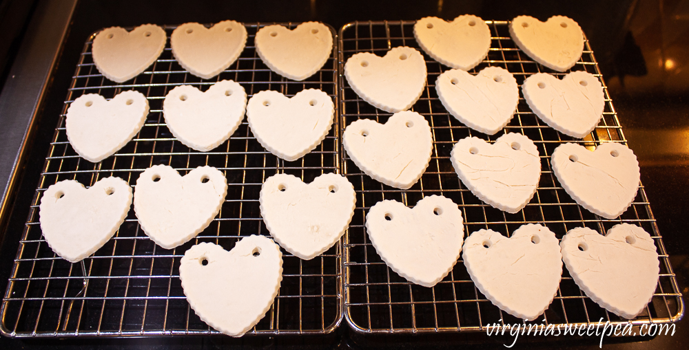 Hearts made with baking soda and cornstarch