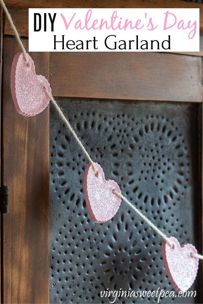 DIY Valentine's Day Heart Garland - Make a heart garland for Valentine's Day with ornaments made using baking soda, cornstarch, and water.  Full tutorial at virginiasweetpea.com.  #heartgarland #valentinesdaygarland #valentinesday #valentinesdaycraft  via @spaula