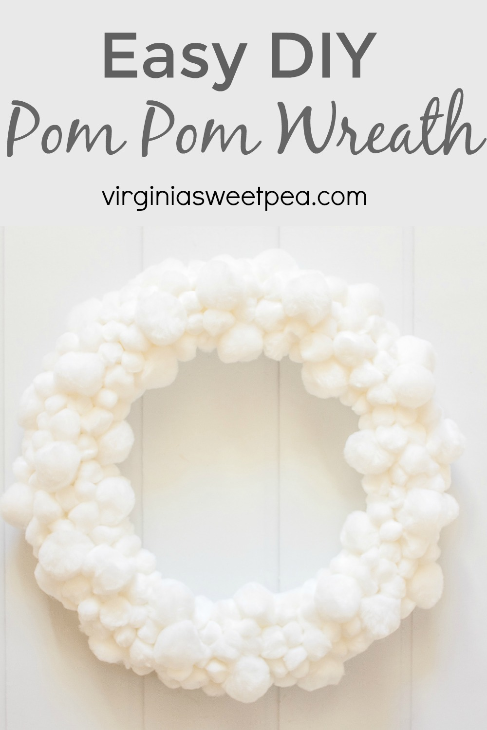 Easy DIY Pom Pom Wreath made with three different sizes of craft store pom poms