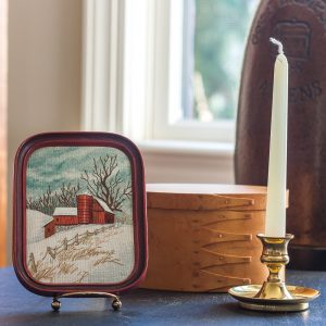 Embroidered barn scene, brass candle holder and candle, handmade wood box