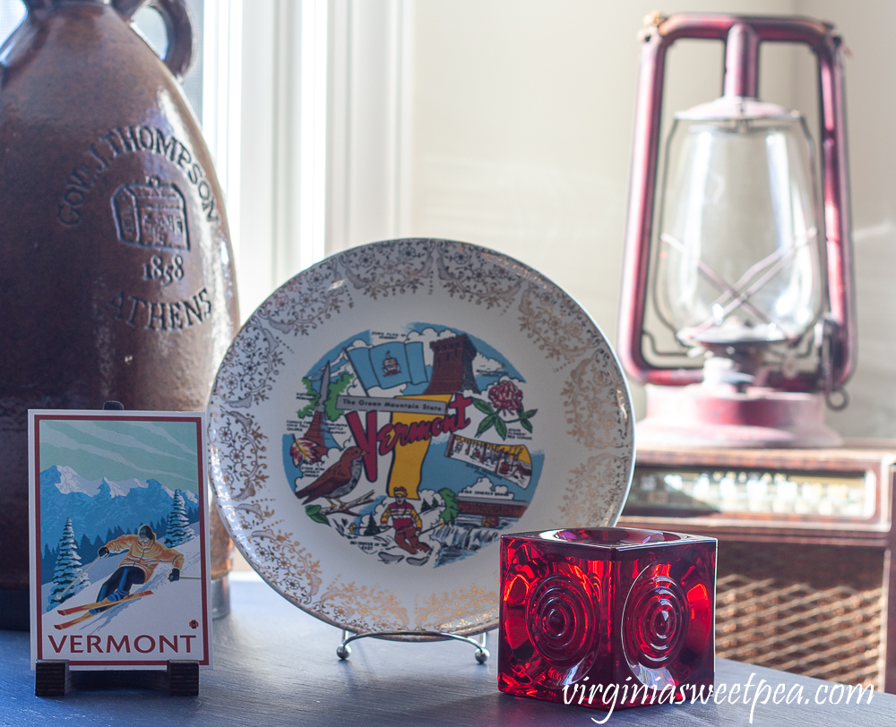 Vermont postcard, Vermont plate, red candle holder, red oil lamp