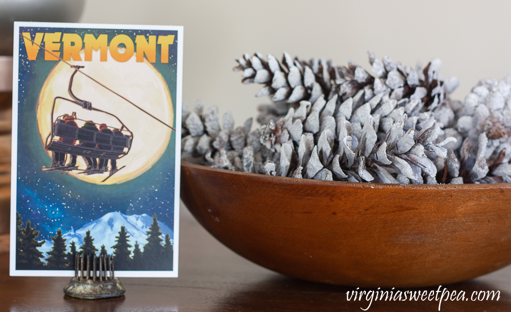 Vermont postcard, vintage wood bowl filled with pine cones