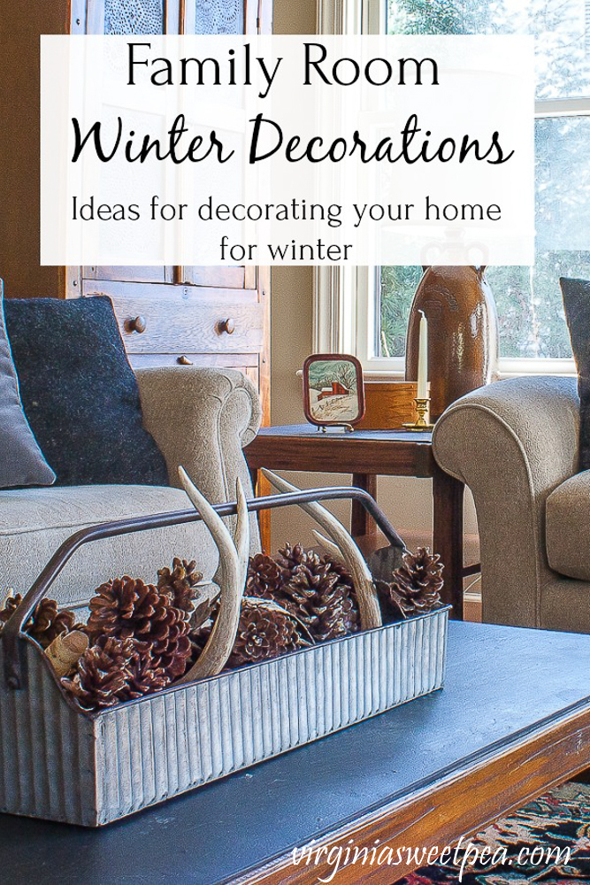 Family Room Winter Decorations - Get ideas for decorating your home for winter.  #winterdecor #winterdecorations #winterfamilyroom #virginiasweetpea via @spaula