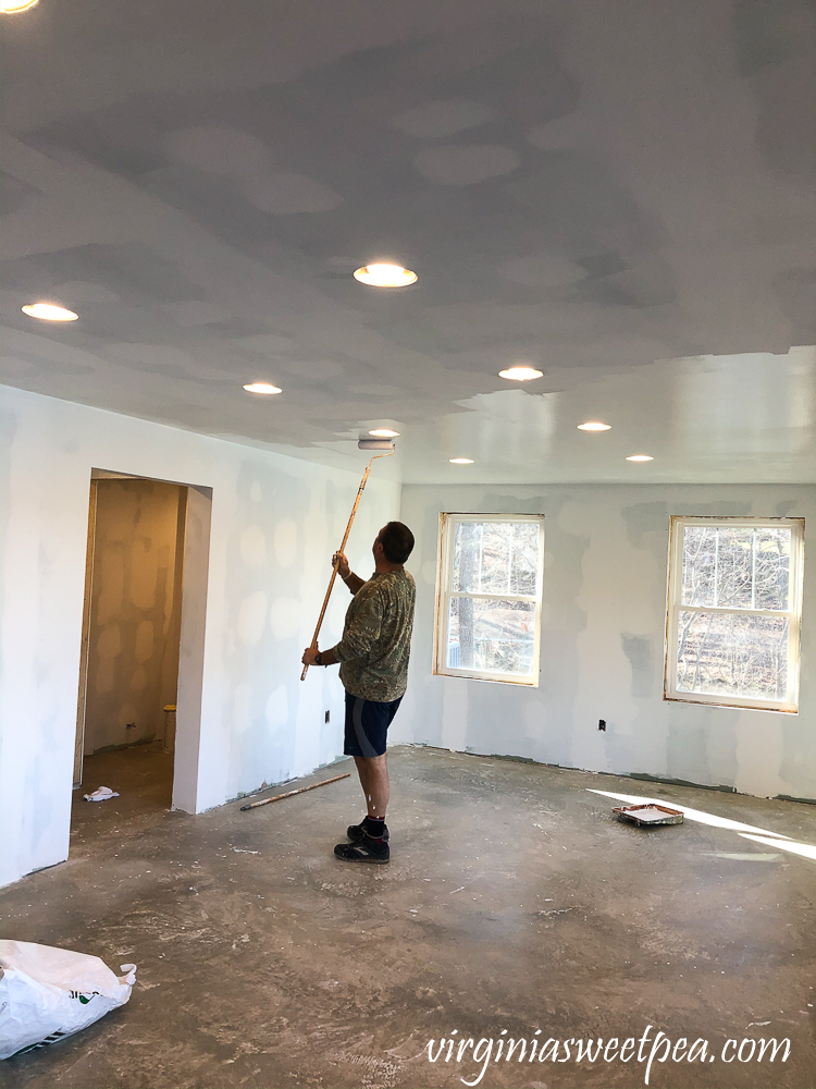 Painting a ceiling with Sherwin Williams ProMar Ceiling Paint in Bright White