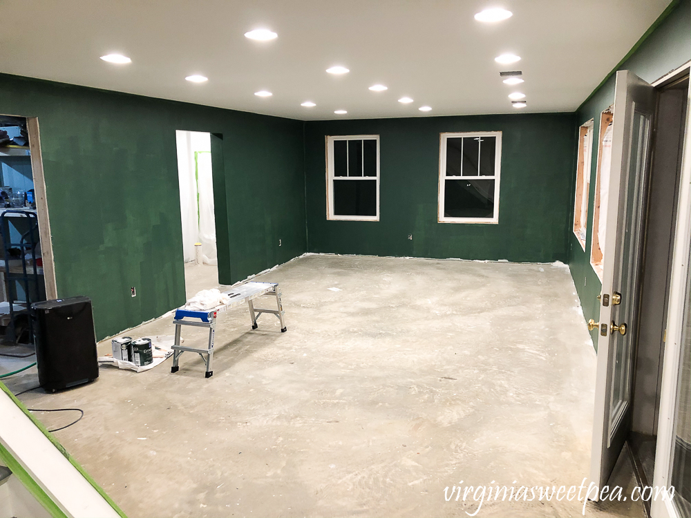 Walls Painted with One Coat of Sherwin Williams Emerald Paint in Rock Garden