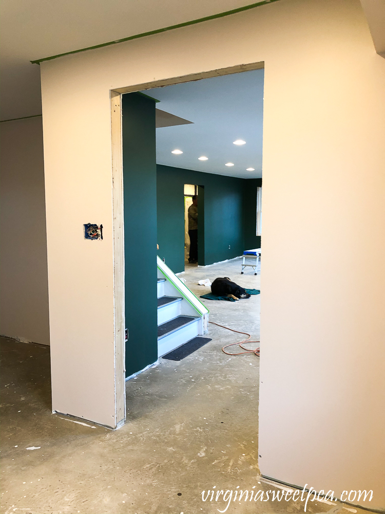 Walls Painted with Sherwin Williams Emerald Paint in Cultured Pearl