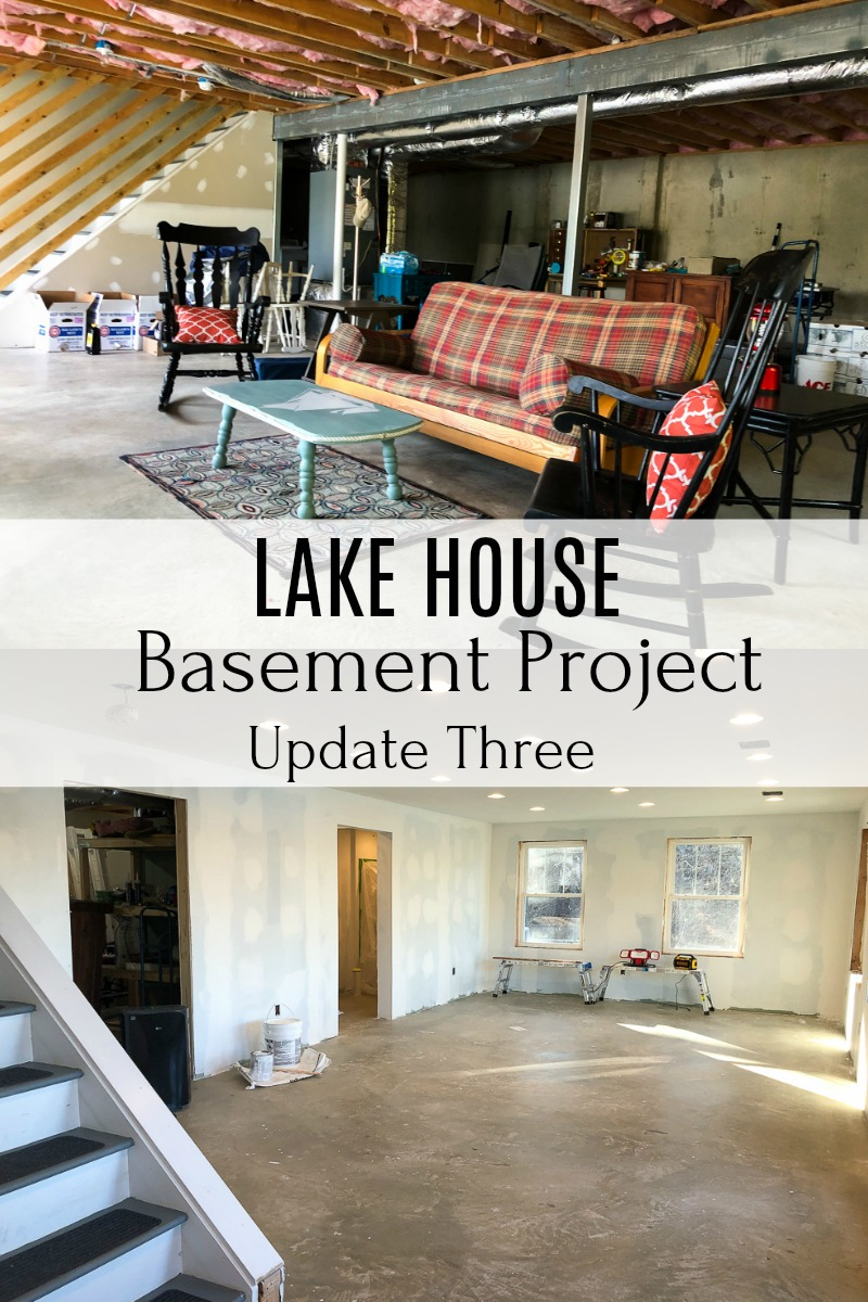 Lake House Basement Project - An unfinished basement is being transformed into usable space that includes a family room, bathroom, and bedroom. #smithmountainlake #basementproject #finishingabasement