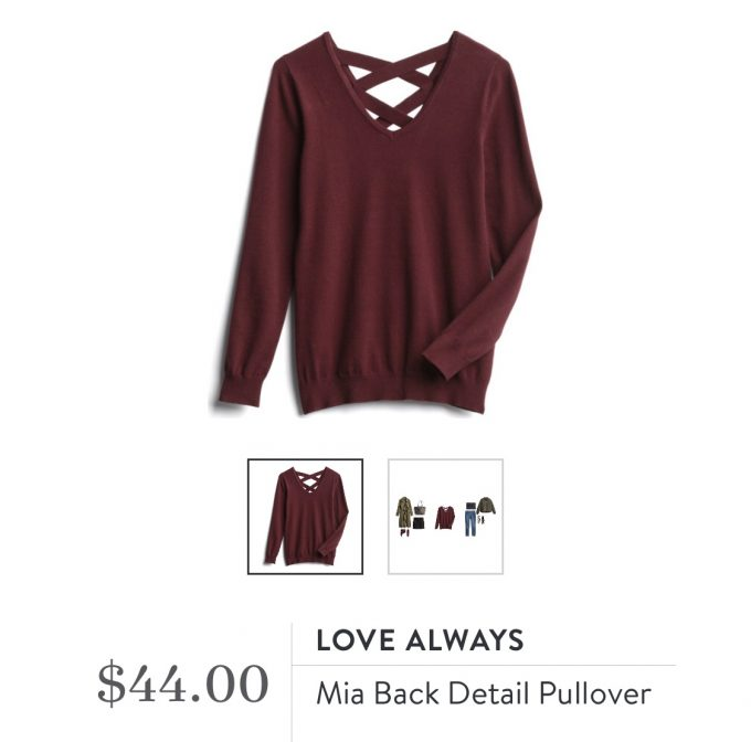 Love Always Mia Back Detail Pullover