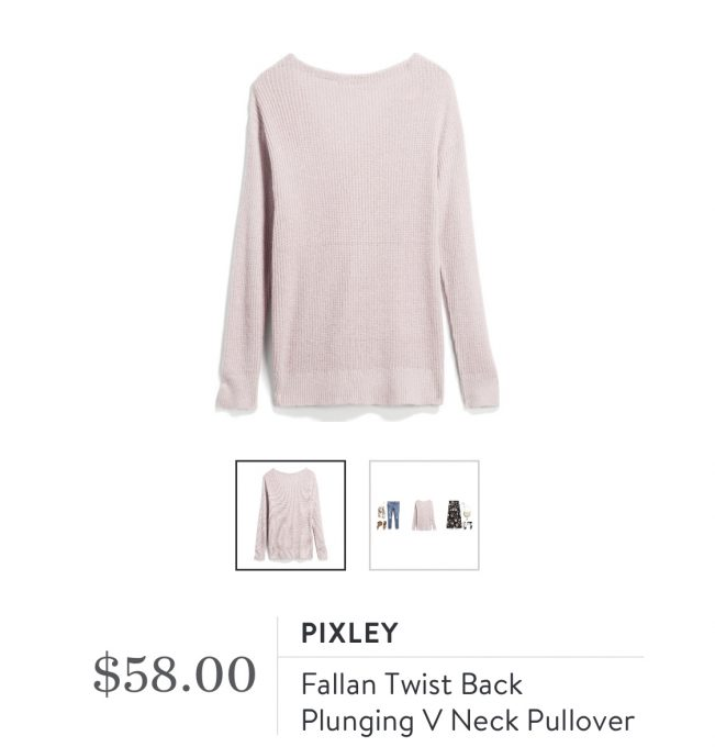 Stitch Fix Market & Spruce Fallan Twist Back Plunging V Neck Pullover