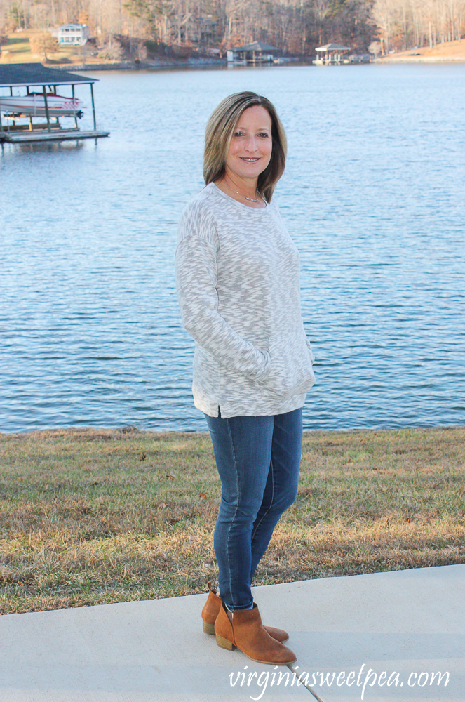 Stitch Fix Review for 2020 - Cupio Blush Ellwood Kangaroo Pocket Brushed Knit Top with Prosperity Torrie Skinny Jean