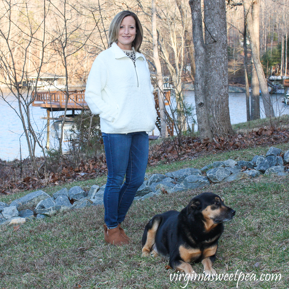Stitch Fix Review for 2020 - Teeberry & Weave Golly Sherpa Fur Quarter Zip Pullover with Prosperity Torrie Skinny Jean