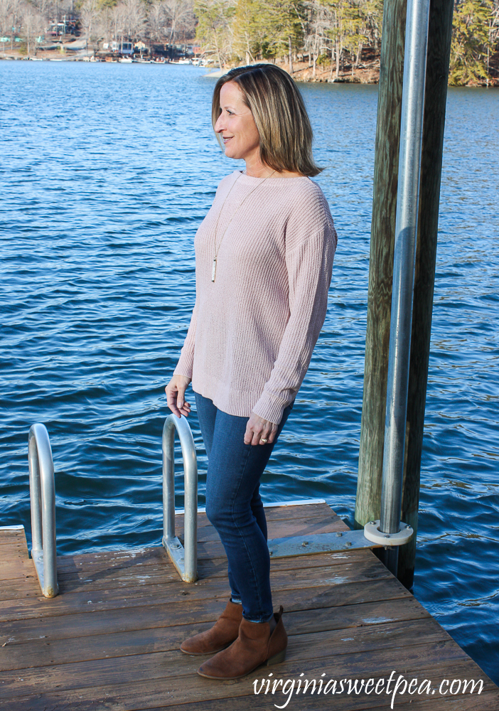 Stitch Fix Review for 2020 - Market & Spruce Fallan Twist Back Plunging V Neck Pullover with Prosperity Torrie Skinny Jean