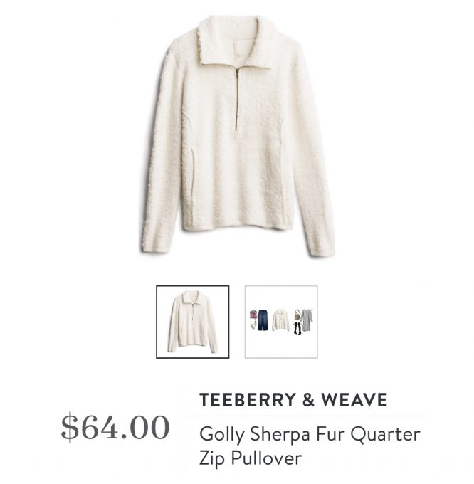 Stitch Fix Teeberry & Weave Golly Sherpa Fur Quarter Zip Pullover