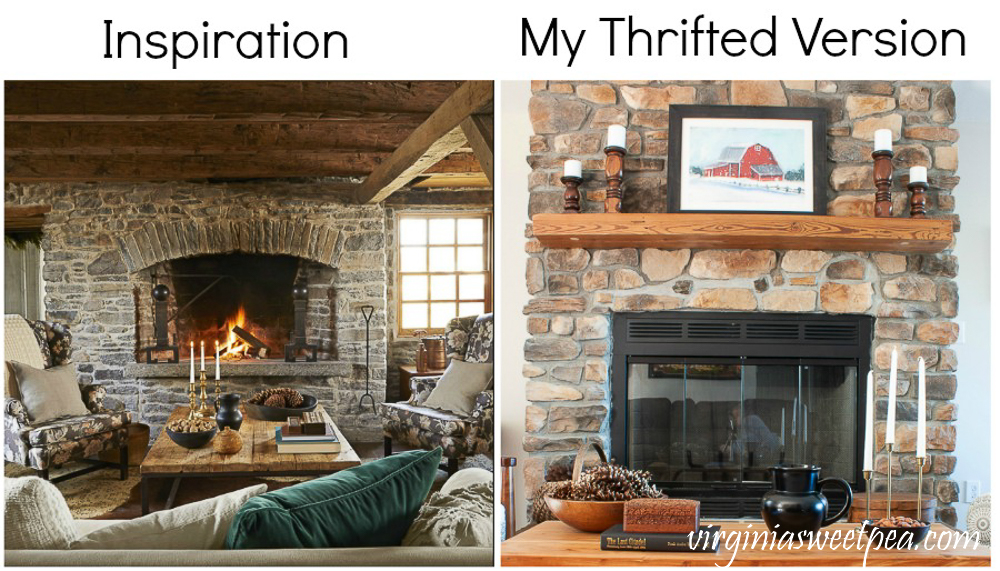 Magazine picture winter cabin scene and same scene recreated by shopping thrift stores