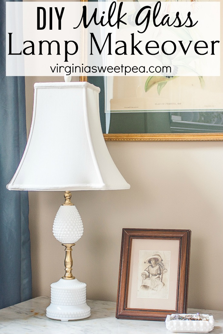 A Milk Glass lamp gets a new life with cleaning, rewiring, spray paint, and a new shade. #milkglass #milkglasslamp #lampmakeover #thriftystyleteam #virginiasweetpea
