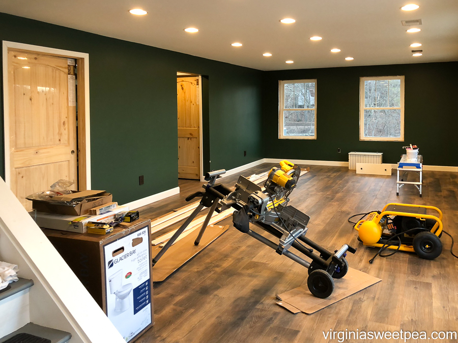 Baseboard and doors installed in a basement