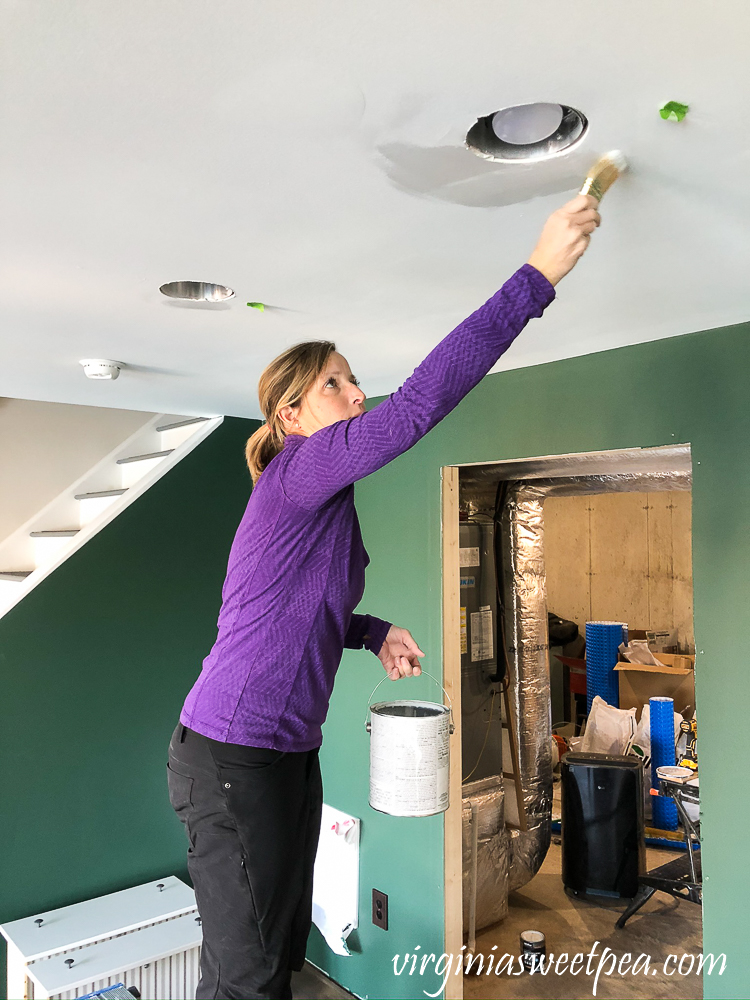 Touching up Ceiling Paint in a basement