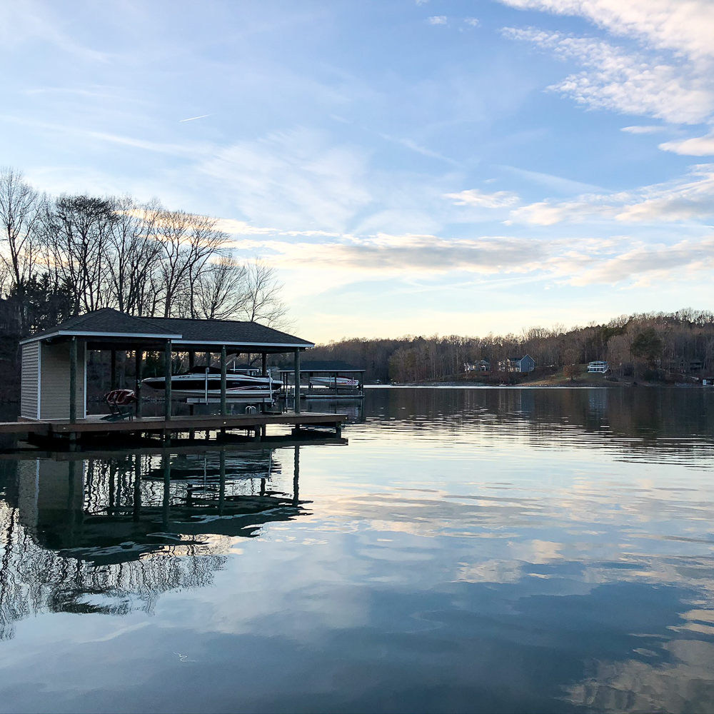 Smith Mountain Lake with boat house