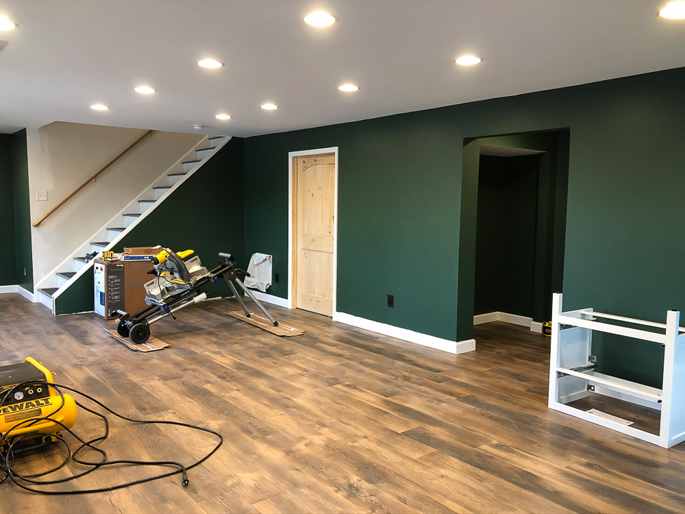 Walls Painted with Sherwin Williams Emerald Paint in Rock Garden