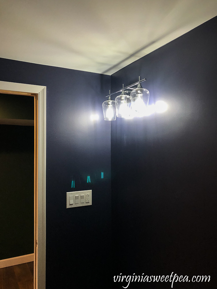 Bathroom with Walls Painted with Sherwin Williams Emerald Paint in Charcoal Blue