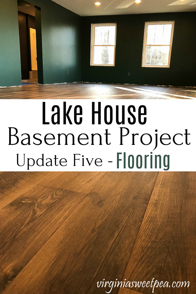 Lake House Basement Project - Installing Mohawk RevWood Praire Oak Flooring #mohawk #vinylplankflooring #mohawkrevwood #flooring #finishingabasement #virginiasweetpea via @spaula