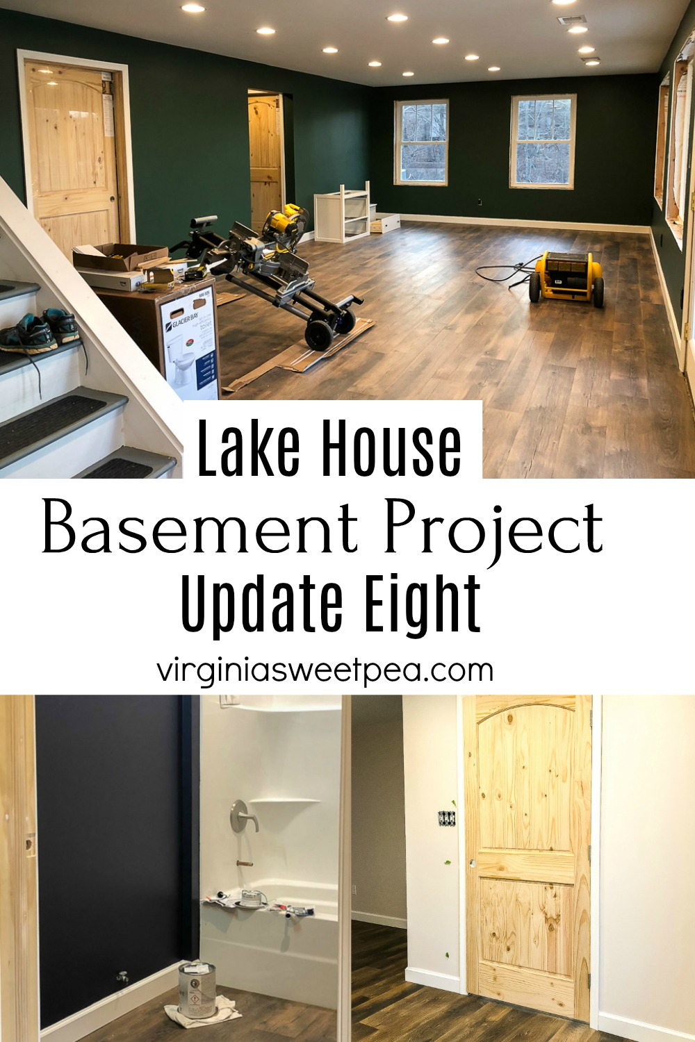 Lake House Basement Project - Work continues on the transformation of an unfinished basement into a family room, bathroom, and bedroom. #lakehousebasement #basementproject #finishingabasement via @spaula