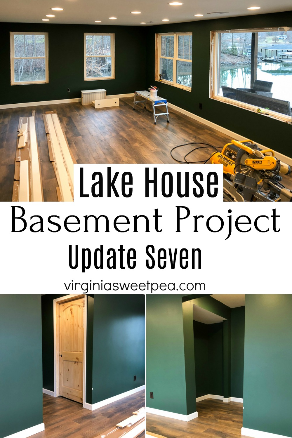 Lake House Basement Project Update Seven - Doors, moulding, and baseboards are installed. #finishingabasement #basementproject #smithmountainlake #installingdoors #installingmoulding #installingbaseboard #virginiasweetpea